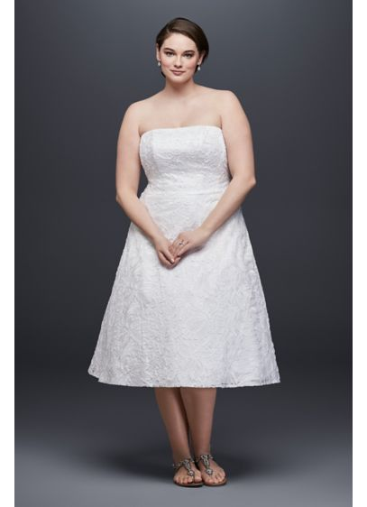 Soutache Lace Tea-Length Plus Size Wedding Dress