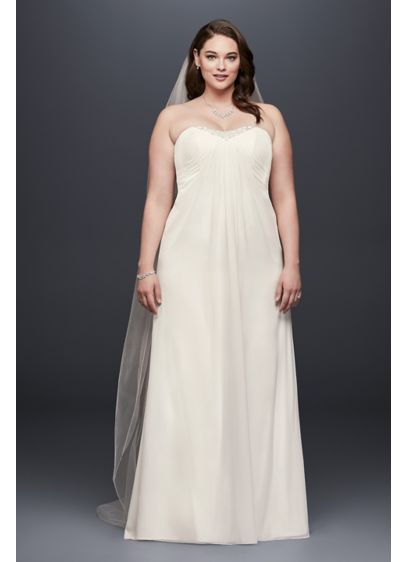 Strapless Pleated Chiffon Plus Size Wedding Dress