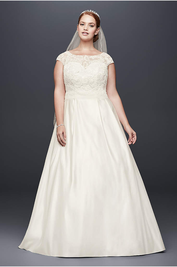 Appliqued Cap Sleeve Plus Size Wedding Dress - Corded lace vines add beautiful texture to the