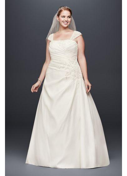 Appliqued Satin Cap Sleeve Plus Size Wedding Dress | David\'s Bridal