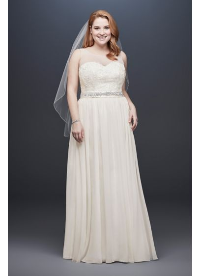 Lace and Crinkle Chiffon Plus Size Wedding Dress - Soft and simple, this flowing, plus-size sheath wedding