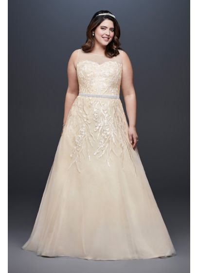 Sequin Vines Plus Size Ball Gown Wedding Dress - Sequin petals on embroidered branches give this illusion-bodice,