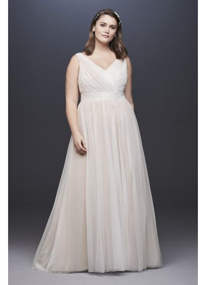 Pleated Plus Size Wedding Dress with Lace Waist - A pleated bodice and a beaded lace waistband