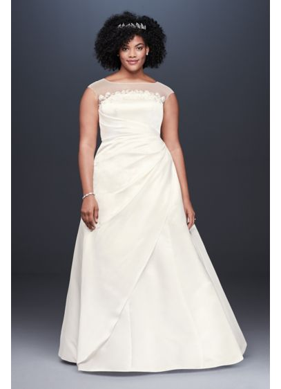 Illusion Neck Ruched Satin Plus Size Wedding Dress - This traditional satin plus size wedding dress is