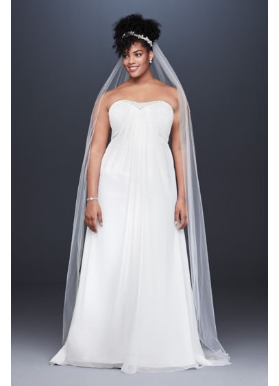 Pleated Chiffon Plus Size Wedding Dress with Beads
