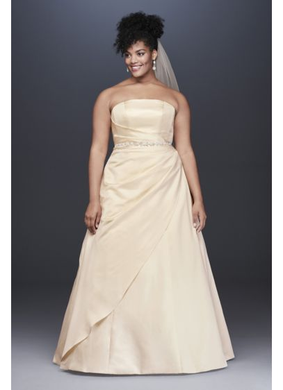 Lace Applique Satin Plus Size A-Line Wedding Dress - Searching for the perfect elegant-meets-classic bridal look? This
