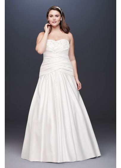 Strapless Pleated A-Line Drop Waist Wedding Dress - Overlapping pleats define the drop waist of this