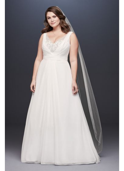 Chiffon V-Neck Tank Wedding Dress with Beading - Float down the aisle in this dreamy chiffon