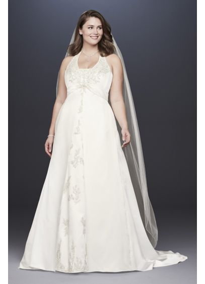 Embroidered Lace Satin Plus Size Wedding Dress - Pleated at the empire waist and embellished with