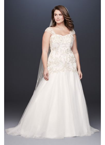 dd1bb9c7a1f Metallic Lace Applique Plus Size Wedding Dress - Prepare to wow in this  stunning plus-