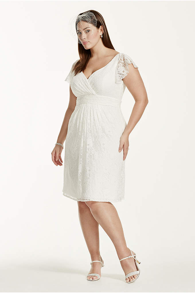 Cap Sleeve Short Lace Plus Size Wedding Dress