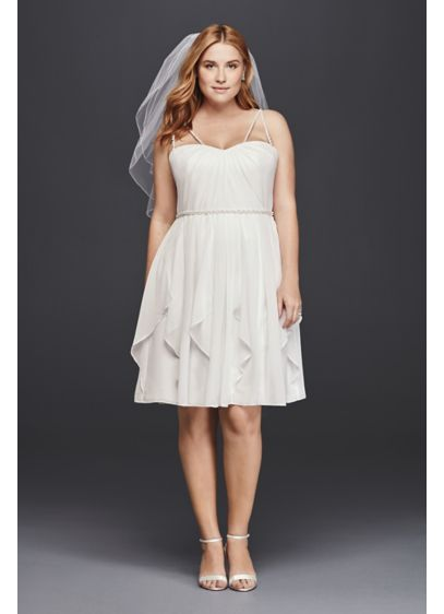 Short Plus Size Wedding Dress with Frilly Skirt | David\'s Bridal