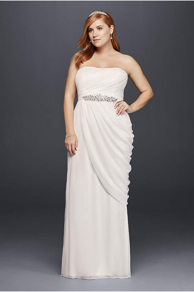 Sheath Plus Size Wedding Dress with Beaded Details