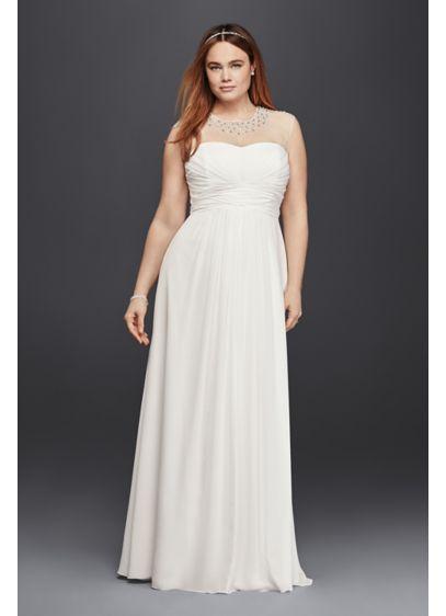 Plus Size Wedding Dress with Beaded Illusion Neck | David\'s Bridal