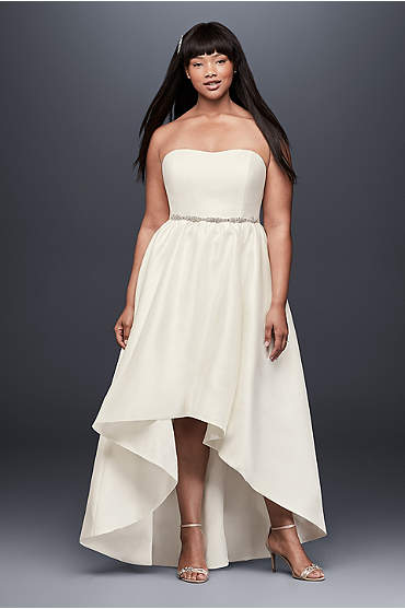 Mikado High-Low Plus Size Wedding Dress