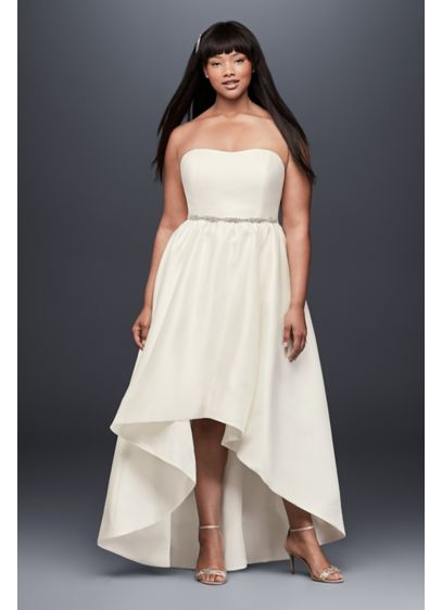 Mikado High-Low Plus Size Wedding Dress - This lustrous mikado plus-size wedding gown is the