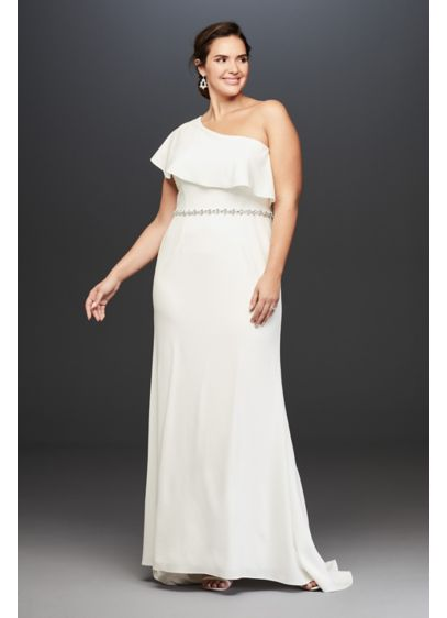 One Shoulder Flounce Crepe Plus Size Belted Sheath - The asymmetrical flounced neckline of this elegant stretch