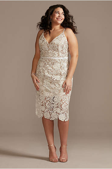 Crochet Lace Overlay Midi Plus Size Dress