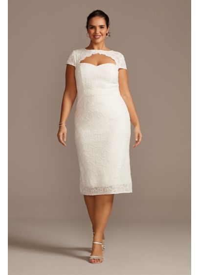 Cap Sleeve Plus Size Lace Dress with Keyhole - With a scalloped cutout and a sleek column