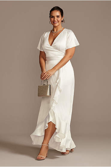 Flutter Sleeve Satin Plus Size Dress with Ruffle