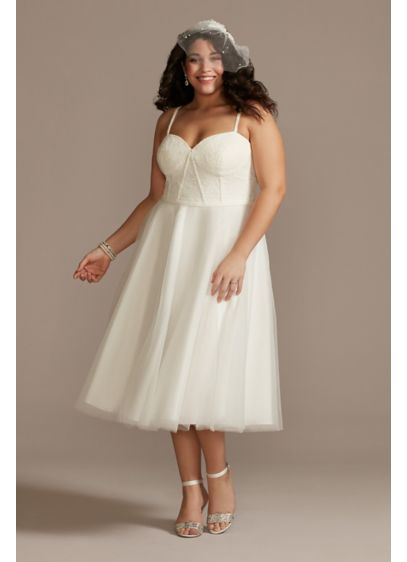 Lace Corset Bodice Tulle Skirt Plus Size Dress - The corded lace adds a textural richness to