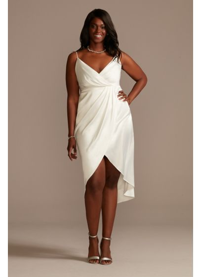 Hand-Pleated Spaghetti Strap Plus Size Slip Dress - Perfect for casual-elegant ceremonies, rehearsal dinners, or wedding