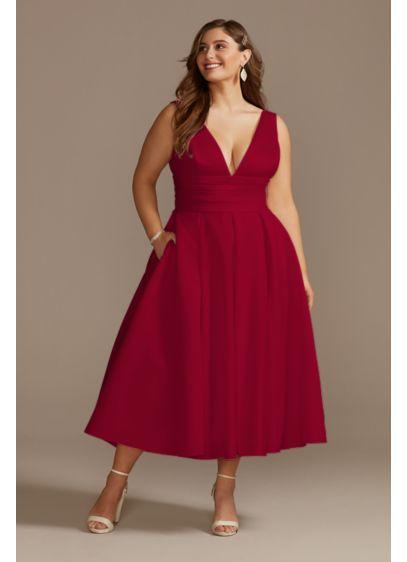 Satin V-Neck Tea Length Plus Size A-Line Dress - A clean and modern short wedding dress with