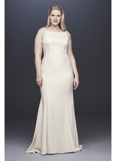 Beaded Illusion and Crepe Plus Size Wedding Dress - This chic crepe sheath gown takes a clean-lined