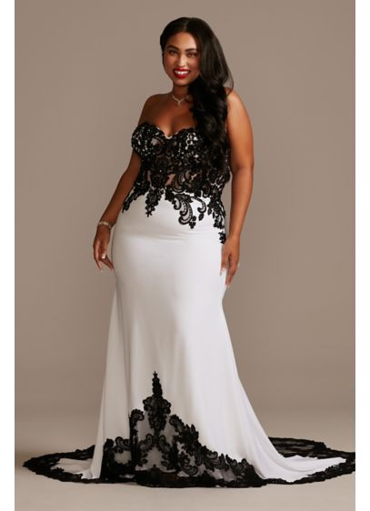 Sheer Beaded Bodice Lace Plus Size Wedding Dress - Alluring and elevated, this plus-size lace and crepe
