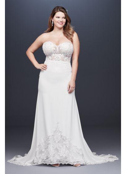 Sheer Beaded Bodice Lace Plus Size Wedding Dress David S Bridal
