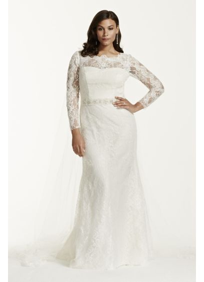 Lace Long Sleeve Sheath Gown with Beading | David\'s Bridal