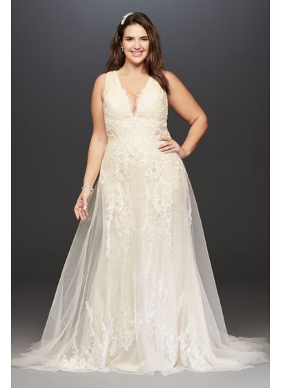 Tulle A-Line Plus Size Wedding Dress with V-Neck - Embody old time glamour in this vintage inspired