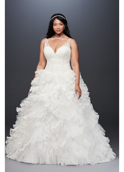 Plunging Plus Size Wedding Dress with Tiered Skirt | David\'s Bridal