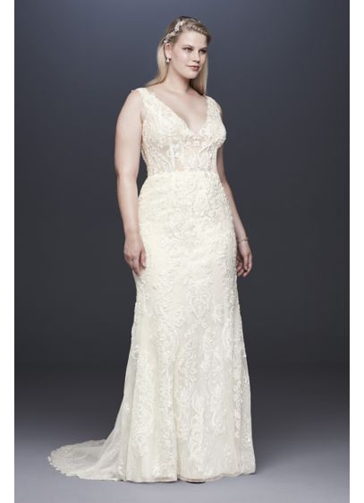 Plunging Illusion Bodice Plus Size Wedding Dress - The plunging tank bodice of this plus size