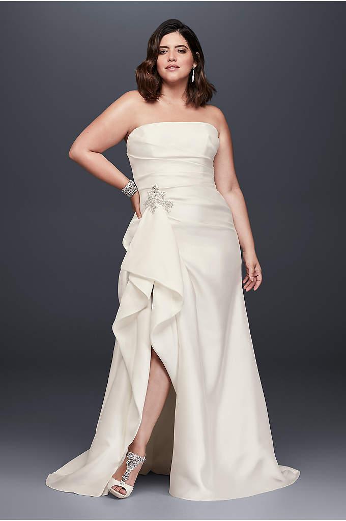Mikado Plus Size Wedding Dress with Slit Skirt - So stunning! This plus-size mikado sheath wedding gown