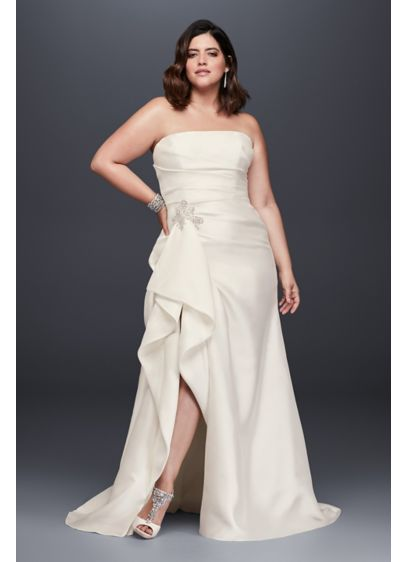 Mikado Plus Size Wedding Dress with Slit Skirt - So stunning! This plus-size mikado sheath wedding gown