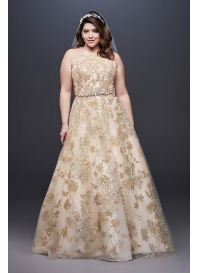 Allover Lace Applique Halter Plus Size Ball Gown - The beauty is in the details of this