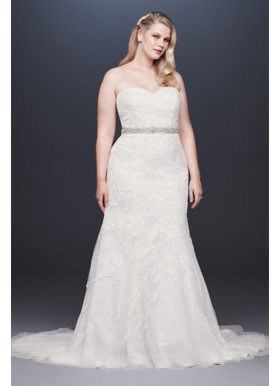 Beaded Lace Plus Size Tulle Mermaid Wedding Dress - Tonal beading and sequins lend subtle sparkle to