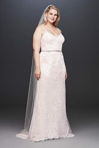 Vestido de Novia Recto de Encaje Con Lentejuelas y Cinturón de Cristales