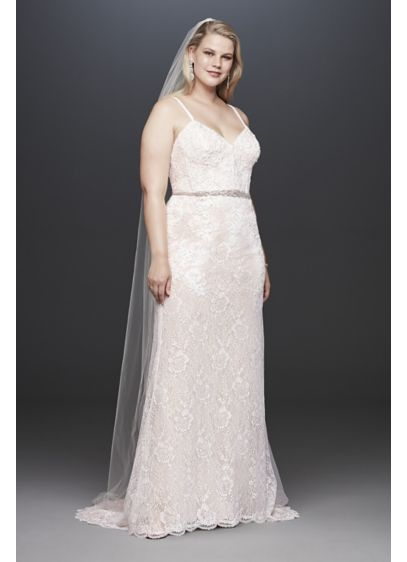 Lace Plus Size Wedding Dress with Crystal Belt - Sequined appliques add shine to this slim and