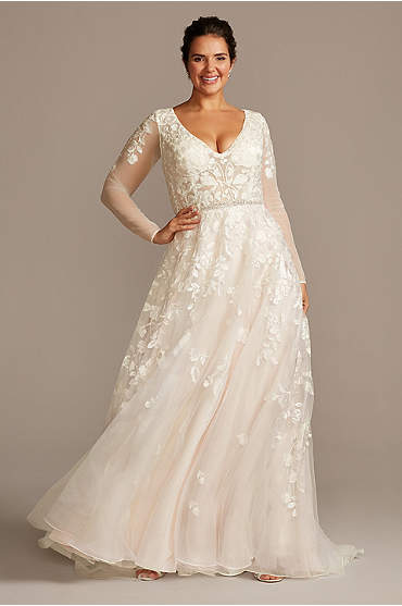 Illusion Sleeve Plunging Plus Size Wedding Dress