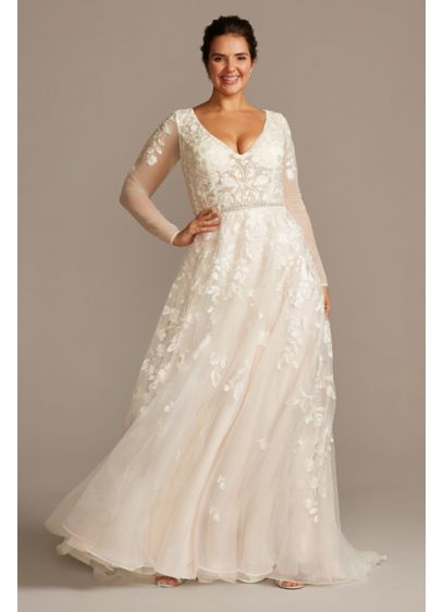 875805fb10 Illusion Sleeve Plunging Plus Size Wedding Dress