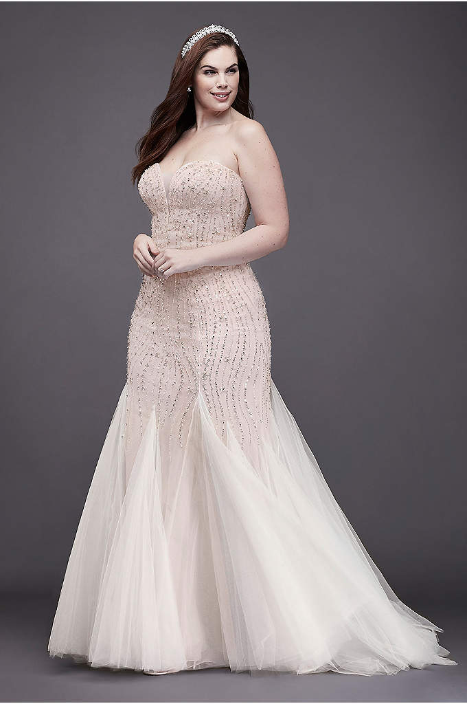 Beaded Tulle Trumpet Plus Size Wedding Dress