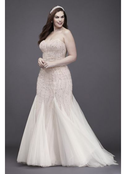 Beaded Tulle Trumpet Plus Size Wedding Dress - Encrusted with body-contouring beads and sequins, and finished