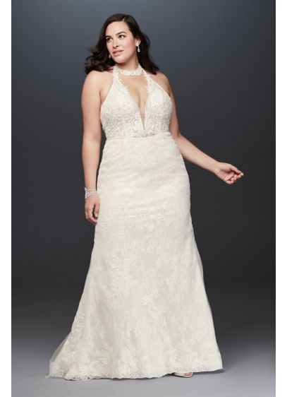 Plunge Neckline Halter Plus Size Wedding Dress