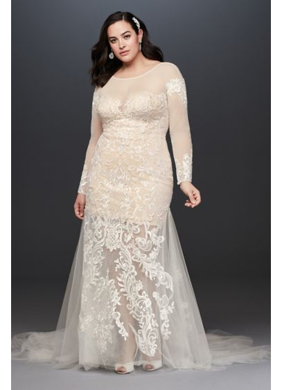 Applique and Tulle Godet Plus Size Wedding Dress - Anything but ordinary, this sultry sheath plus-size wedding