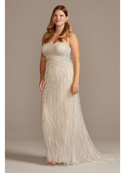 Deco Beaded Plus Size Lace Sheath Wedding Dress - Linear crystal chains, crafted of five distinct types