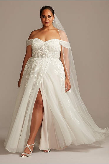 Floral Plus Size Wedding Dress with Swag Sleeves