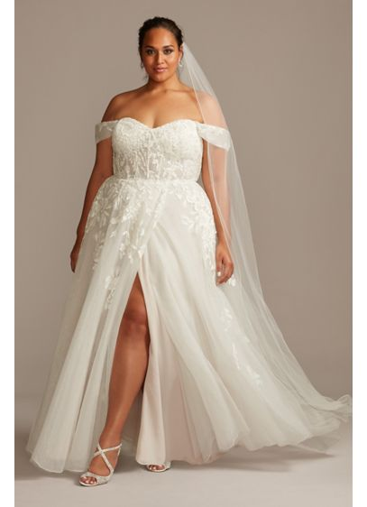 Floral Plus Size Wedding Dress with Swag Sleeves - An A-line wedding dress gets romantic updates to