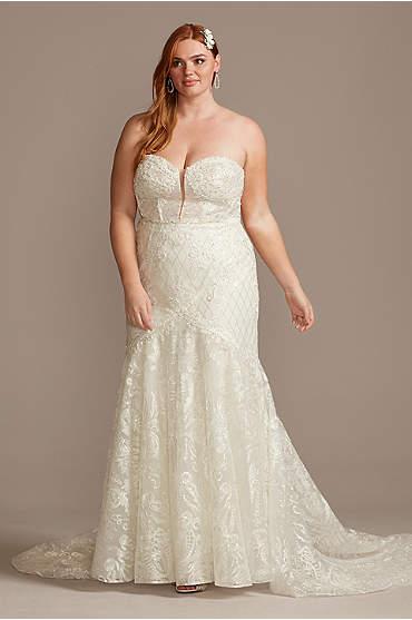Beaded Brocade Embellished Plus Size Wedding Dress